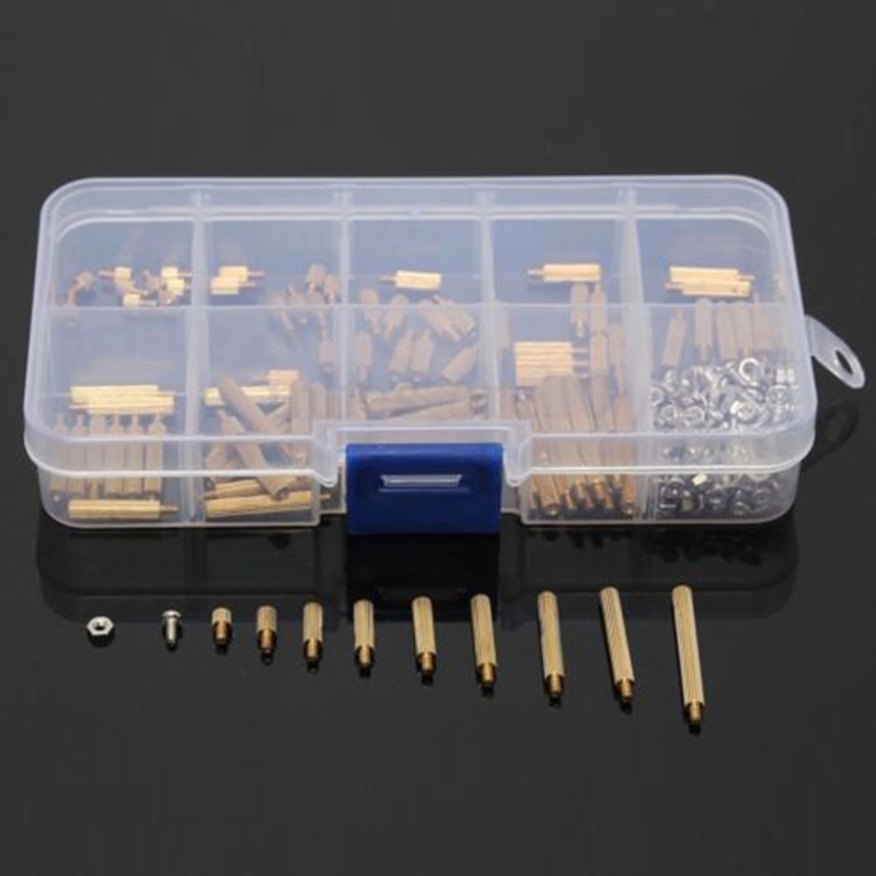 270pcs M2 Standoff Screws Male to Female Brass Standoff Nuts Assortment Kit with Plastic Box For DIY Tool exotao high wasit jeans women casual loose pockets spliced denim trousers feminina wide leg pants full length jeans female 2017