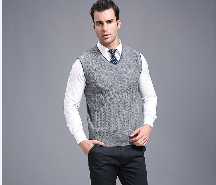 Autumn and Winter Bussiness Casual Men V Neck Plain Color Cashmere ...