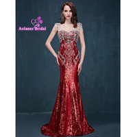 Real Photo Royal Blue Gold Red 2017 Evening Dresses Sequined Formal Gowns For Wedding Party Vestido