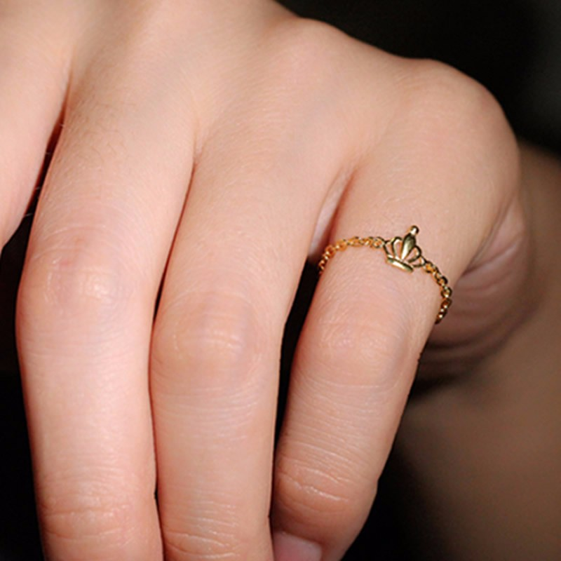 New Arrival Pure 24K Yellow gold Crown Ring Lady's Link Ring new pure au750 rose gold love ring lucky cute letter ring 1 13 1 23g hot sale
