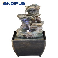 New Design USB Flowing Water Fountain Desktop Mini Water Feature Feng Shui Lucky Resin Crafts Home Decoration Office Bonsai Gift