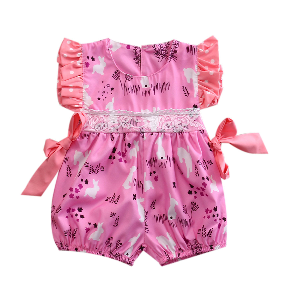 Newborn Toddler Baby Girls Clothes Lace Rabbit Jumpsuit One-Piece Romper bodysuit Sunsuit