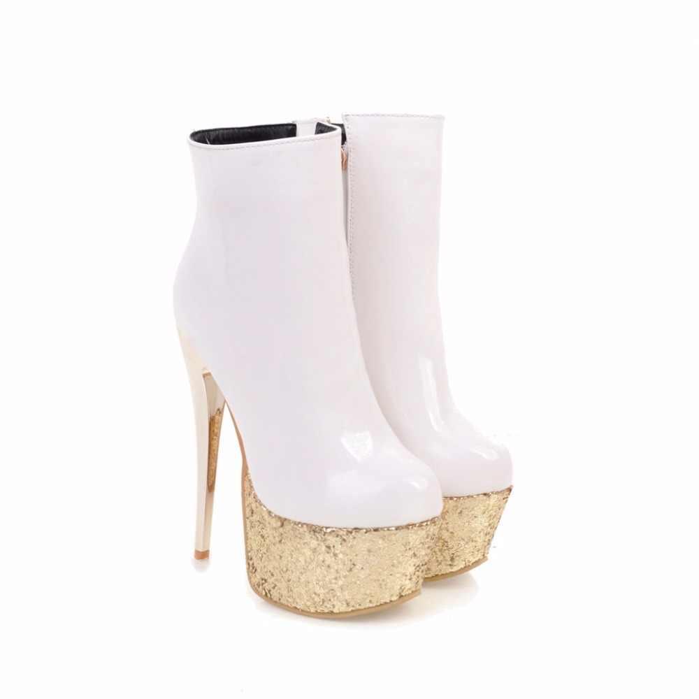 Arden Furtado Phụ Nữ Giày 2018 mới sexy mắt cá chân Khởi Động Phụ Nữ Thời Trang Cao Gót 16 cm Phụ Nữ bling bling nền tảng khởi động giày cao gót