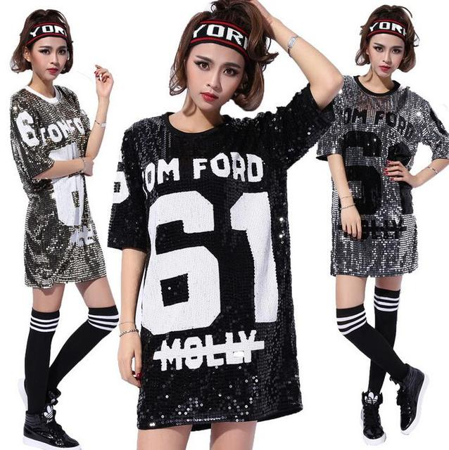 Black Silver Gold Plus Size Loose Sequined Dresses Sexy Punk Hip Hop