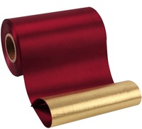 Laribbons 6 Inch Luxury Sherry Red Satin And Metallic Gold Grand Opening Ceremonial Satin Ribbon By
