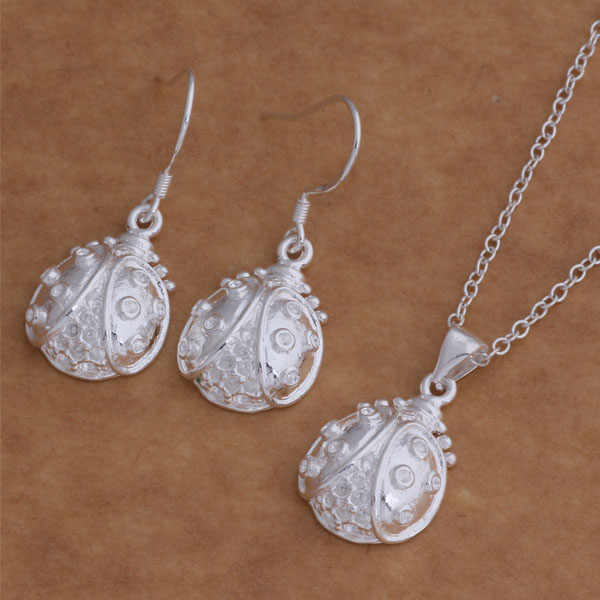 AS009 Hot 925 sterling  silver Jewelry Sets Earring 044 + Necklace 028 /bddajuka abdaiska
