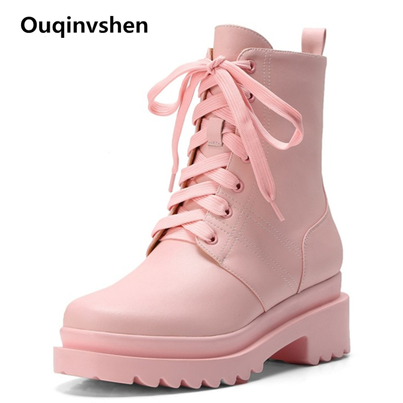 Ouqinvshen Fashion Casual Boots Pink Wedges Round Toe Concise Office Genuine Leather Platform Boots Autumn Winter Ankle Boots