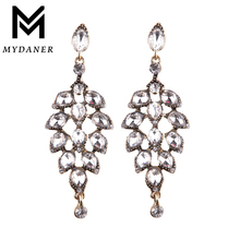 MYDANER Fashion Jewelry Luxury Crystal Leaf Large Earrings Long Drop Earrings for Women Bridal Wedding Party
