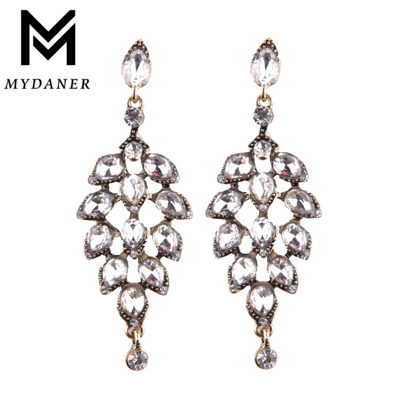 MYDANER Fashion font b Jewelry b font font b Luxury b font Crystal Leaf Large Earrings
