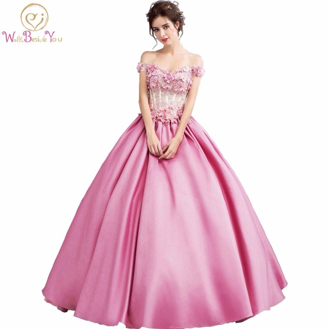 Robe Long Sirene Rose Prom Dresses with Floral Beaded Off the ...
