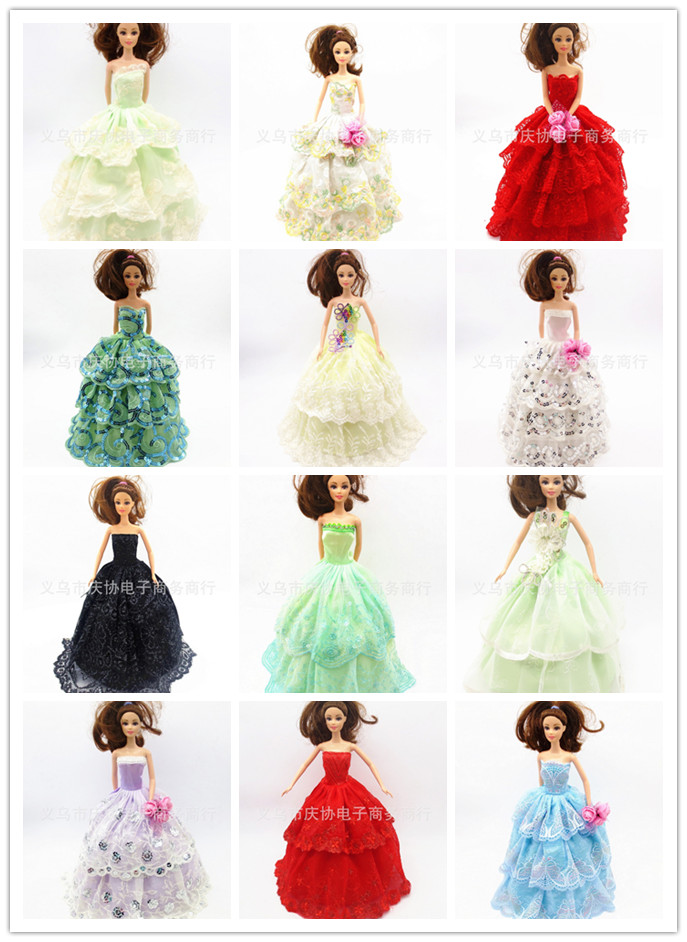Kids Women Reward Doll Equipment30objects=Gown+Footwear+Hangers marriage ceremony Gown Garments Robe For Barbie Doll