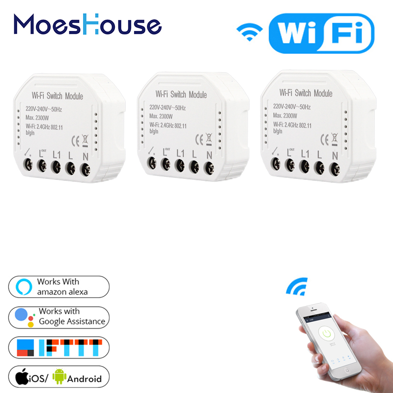 2 Way Wifi Smart Light Switch Universal Breaker Diy Module Smart Life Tuya APP Remote Control