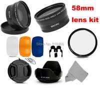 free shipping 58mm fisheye wide angle macro filter + Lens Hood + UV Filter for canon Nikon D7000 D5200 D5100 D5000 D3200 58 lens