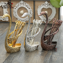 Creative mirror cygnet pattern swan base with fan-shaped coffee spoon fruit fork vintage tableware set carmate fan shaped sub mirror one pair in