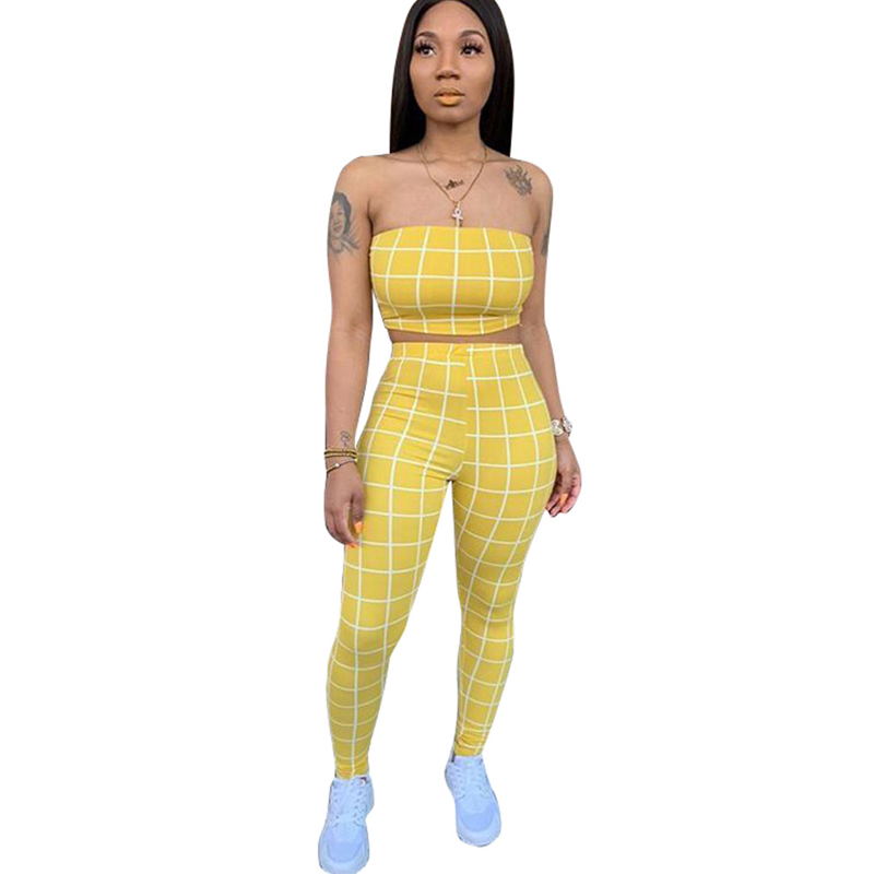 Summer New Hot Women's Tight Jumpsuit Two-Piece Casual Check Tube Top Pencil Pants Suit