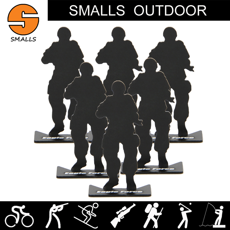 6pcs airsoft hunting gun accessories iron metal soldier model military shooting targets for hunting black