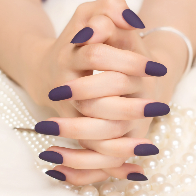 Nail patch finished small round solid matt deep purple Mature series ...