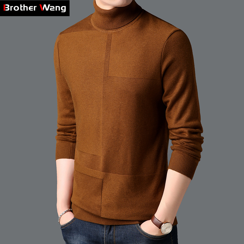 Men's Turtleneck Sweater 2019 Autumn Winter New Solid Color Thick Warm Knit Sweater Male Brand Clothes Brown Wine Red Black Gray