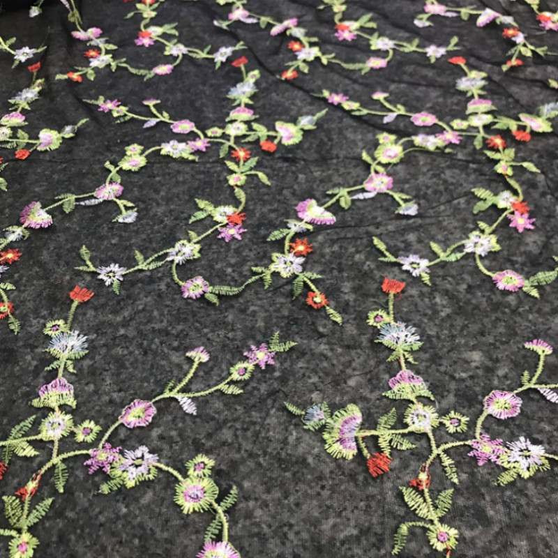 1yard Black embroidery lace fabric Polyester Women 39 s dress embroidered fabric in Lace from Home amp Garden