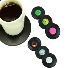 6 Pcs/ Set Retro Vinyl Coasters Heat Insulated Cup Pads Table Glass Mats