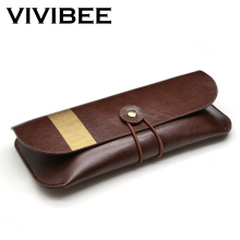 VIVIBEE Women Sunglass Case PU Leather 2019 Men Vintage Spectacle Soft Cases Eyeglass High Quality Brown Box Sunglasses Pocket