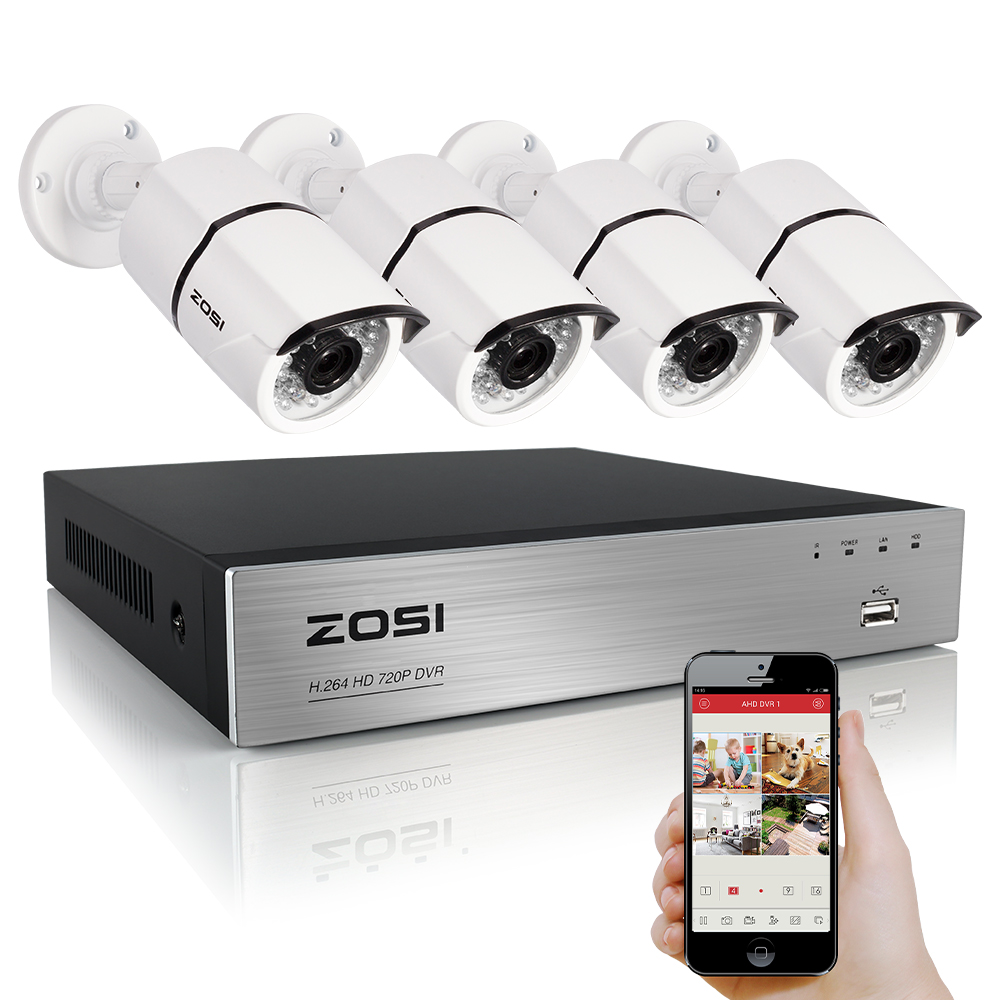 ZOSI 1080P CCTV Video Security 4CH 2000TVL DVR System Kit 4PCS 2.0MP IR Night Vision Camera 4 Channel Surveillance Kits zosi 8ch cctv system 8ch network tvi dvr 4pcs 1280tvl ir weatherproof home security camera system surveillance kits