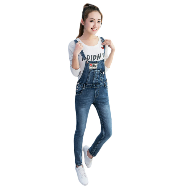 Women Denim Jumpsuits Ladies fashion Casual Pencil Overalls college style Button Pockets Bib pants full Length Patchwork Slim