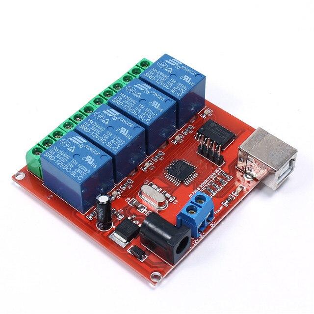 4Bit 4 Канала DC 12 В Управления USB Переключатель Релейный Модуль Интеллектуальный Контроллер Компьютер PC Smart Control Switch ULN2803