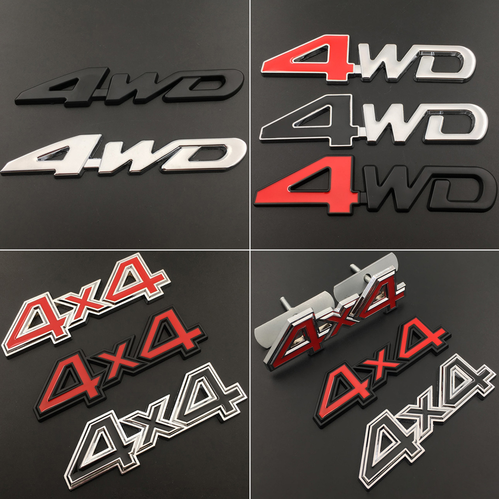 Four-<font><b>drive</b></font> 4X4 4WD Metal Sticker for Mercedes Benz W203 W210 <font><b>BMW</b></font> Land Rover Ford Toyota Nissan Chevrolet Grille <font><b>Emblem</b></font> Exterior image