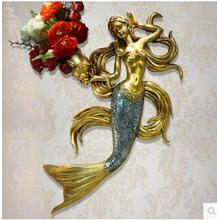 The European angelic beauty mermaid wall hang vase is decorated in the living room adornment hangs a stere