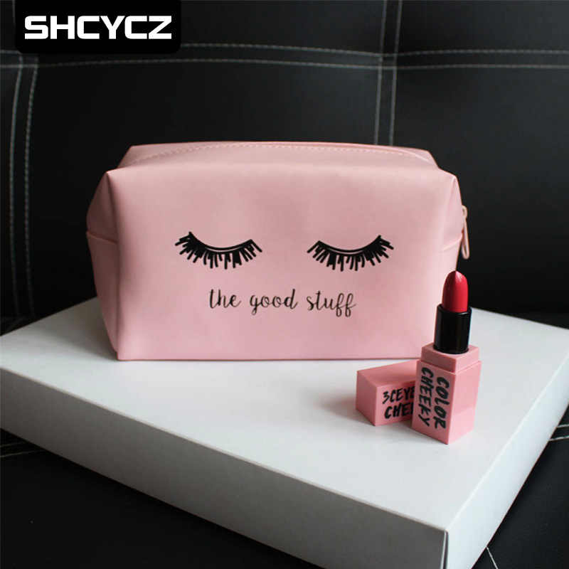 ef0a347ae43 Pink Handbag kawaii Eyelashes Cosmetic Bag PU Makeup Pouch Beauty Case  Vanity Make Up Bag For