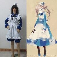 Miễn phí Vận Chuyển Axis Power Hetalia ANH Arthur Rosa Kirkland Sex Reversal Tùy Chỉnh Xanh Maid Dress Anime cosplay costume