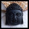 Natural Stone Carved Buddha Head Obsidian Necklace Pendant,47*38*15mm,40.7g, natural stone carved obsidian pendant