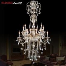 Candelabro grande de cristal, araña colgante, luces led, accesorios, lámpara de iluminación de cristal para Hotel, lámpara de araña larga para escalera