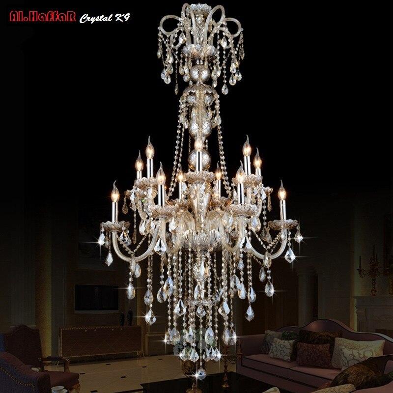 Grand Lustre En Cristal De Long led Pendentif Lustre Lumières Luminaires Hôtel Cristal Éclairage Lampe Escalier Long lustre Lumière