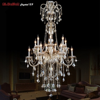 Large Long Chandelier Crystal led Pendant Chandelier Lights Fixtures Hotel Crystal Lighting Lamp Staircase Long chandelier Light elegant hotel big murano chandelier and hand blown glass chandelier