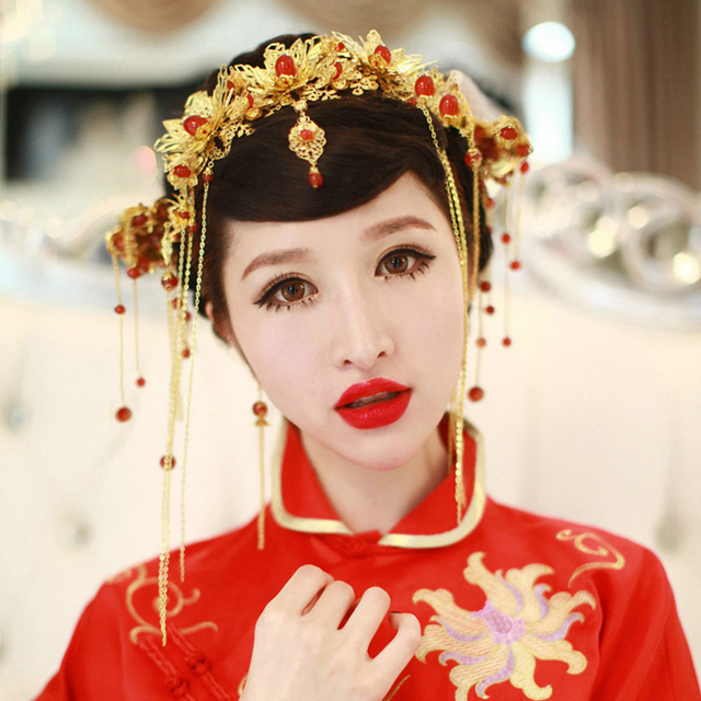 National wind trendy charm women delicate golden crown hair hand Court dress big rockhopper tassel crystal hair accessories