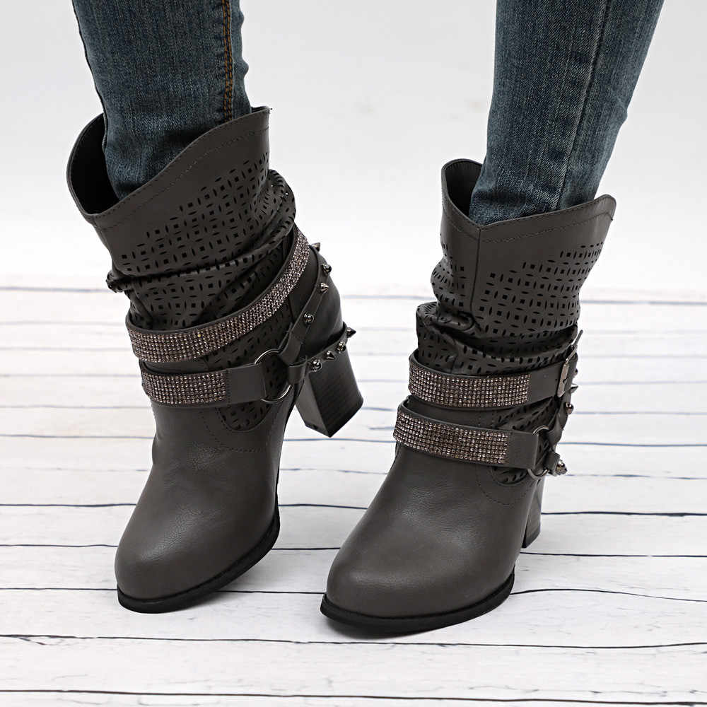 YOUYEDIAN Women Autumn Winter Hollow Out Ankle Boots Ladies Heel Half Martin Boots Shoes chaussure femme ete#a25
