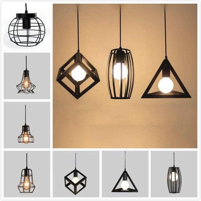 Vintage Industrielle Pendentif Lampe Edison Lumière E27 Titulaire Fer Creative Salon Restaurant Bar Grenier Cage Lampe