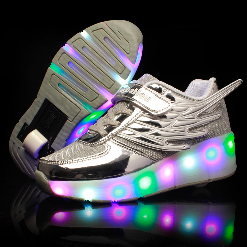 New LED Heelys Shoes with Wing Automatic Lamp Flashing Sport Casual Shoes Kids Sneakers Fashion Breathable for Boys Girls SliverNew LED Heelys Shoes with Wing Automatic Lamp Flashing Sport Casual Shoes Kids Sneakers Fashion Breathable for Boys Girls Sliver