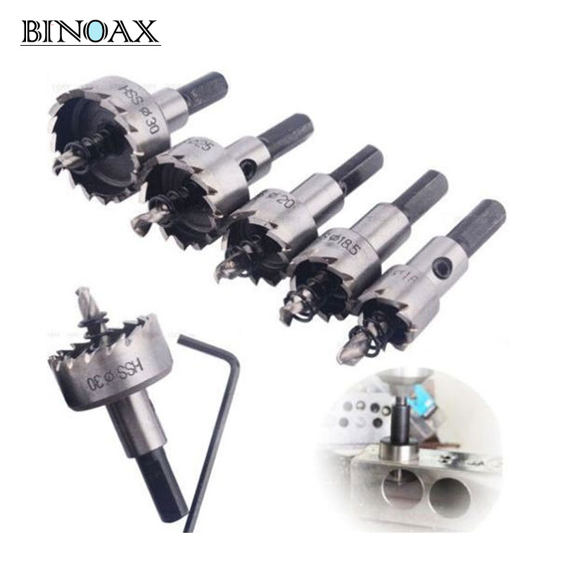 Binoax 5 pcs Carbure Astuce HSS Perceuses Bit Scie Ensemble En Acier Inoxydable Métal Alliage 16/18. 5/20/25/30mm # W00172 #