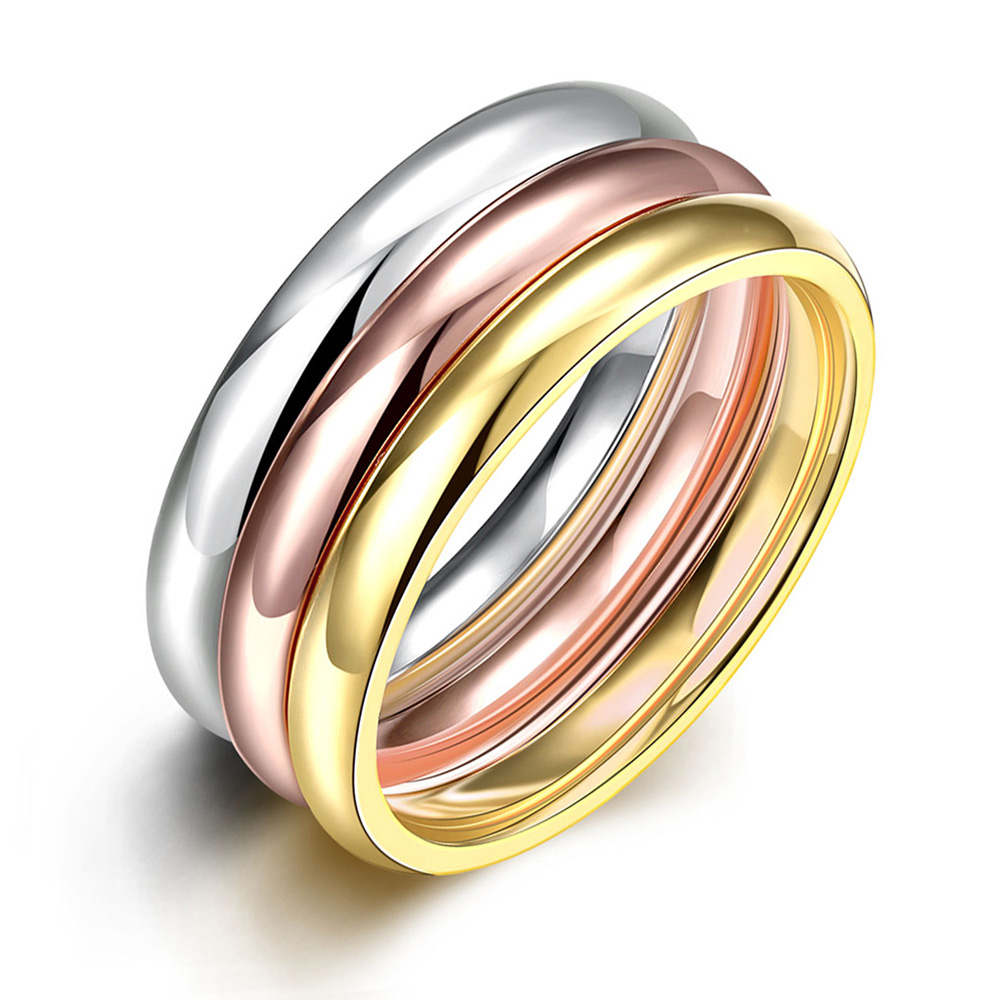 hot sale 3pcs silver color rose gold color gold color stainless steeel unisex rings for party free shipping