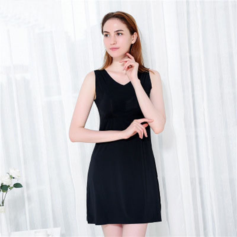 Solid Mini V-neck Nightgown Women Nightwear Nightdress Female Sleeveless Sexy Sleepwear Sleepdress Home Clothing