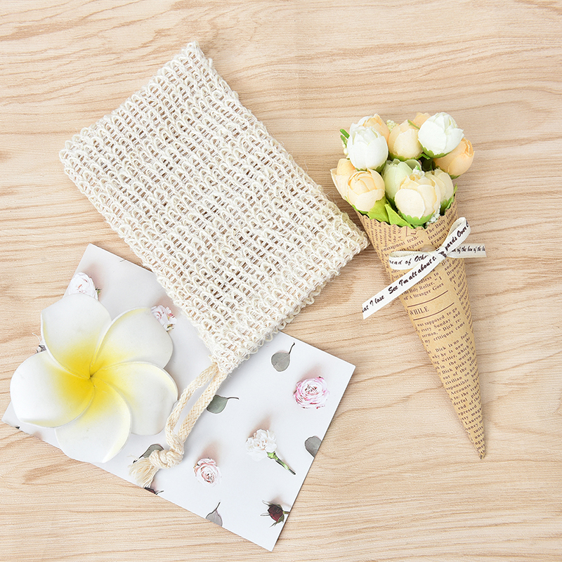 1PC Bath Shower Soap Mesh Bag Double-layer High Quality Durablel Sisal Soap Saver Pouches Soap Saver Bag