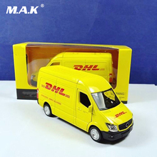 1/36 Scale Diecast Car Model Toys Commerical Vehicle Yellow Model For Express DHL Car Model Collection Gifts for Children Boys