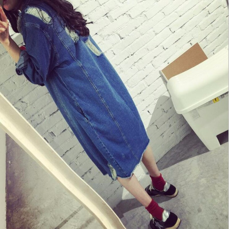 Womens Autumn Jackets And Coats 2016 New Design Frayed Washed Denim Outwear Girls Casual Slim Pocket Clothing New Street Fashion (1)