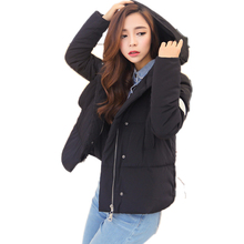 Fashion Slim Winter Coat 2016 Casual Hooded Solid Color Women Short Parka Plus Size Epaulet Invierno