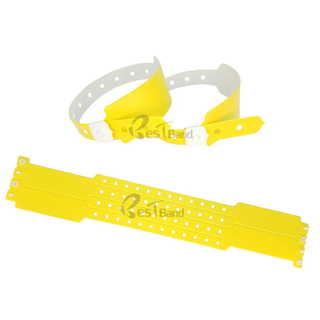 100pcs Zinc Yellow Color Plastic Event Vinyl Wristband Bracelet For Ticket Festival Id Bracelets