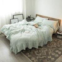 9 colors princess Bedding Set White Grey Pink Cotton Bed Sheet set Queen King size Duvet Cover Fittet sheet parure de lit