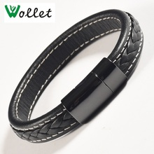 Wollet Jewelry Black Leather Magnetic Bracelet for Men Women Stainless Steel Magnet and Germanium Health Care Healing Energy цена